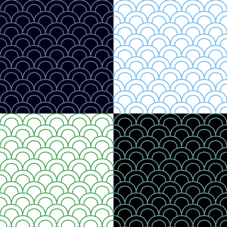 Green and Blue Scales Seamless Pattern Set.
