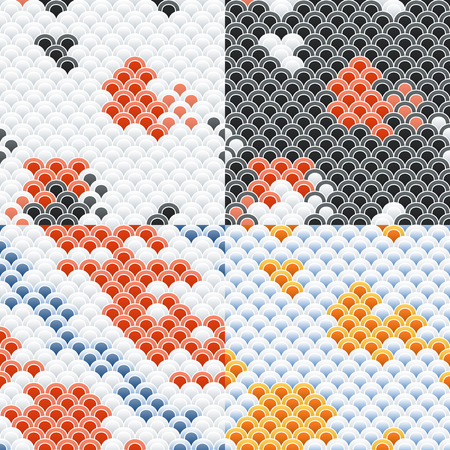 koi: Fish Carp Koi Scales Seamless Pattern Set. Illustration