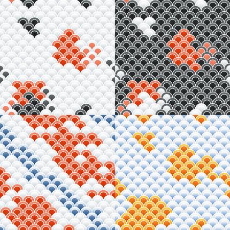 Fish Carp Koi Scales Seamless Pattern Set. Illustration