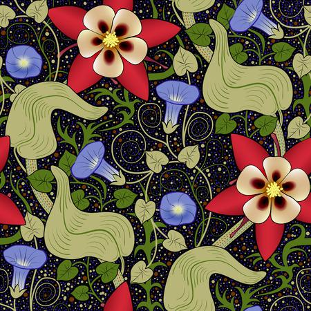convolvulus: seamless vintage floral pattern. Flowers bindweed on a black background