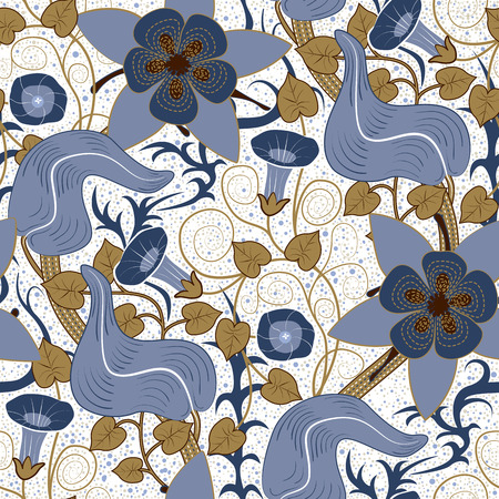 bindweed: seamless vintage floral pattern. Flowers bindweed on a white background Illustration