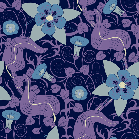 convolvulus: seamless vintage floral pattern. Flowers bindweed  on a blue background