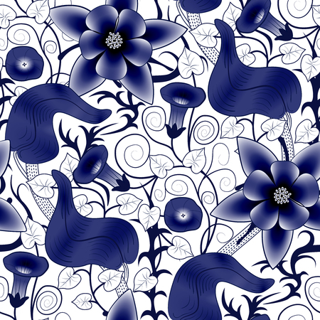 convolvulus: seamless vintage floral pattern. Flowers bindweed on a white background Illustration