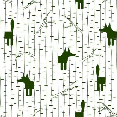 birch forest: Seamless pattern with fox in birch forest. Vector illustration