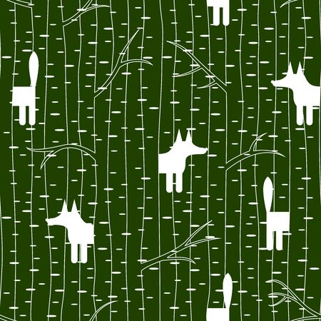 copse: Seamless pattern with fox in birch forest. Vector illustration