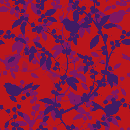 picking fruit: Seamless pattern of Blackthorn berries and birds. Vector illustration