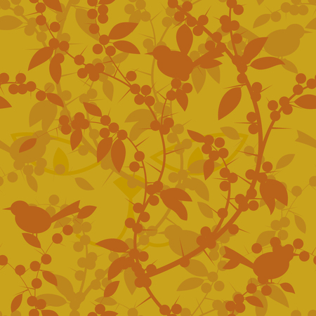 picked: Seamless pattern of Blackthorn berries and birds. Vector illustration