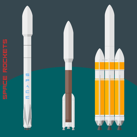 USA space rockets set. Rockets Falcon, Atlas V 500 and Delta V heavy. Vector illustration