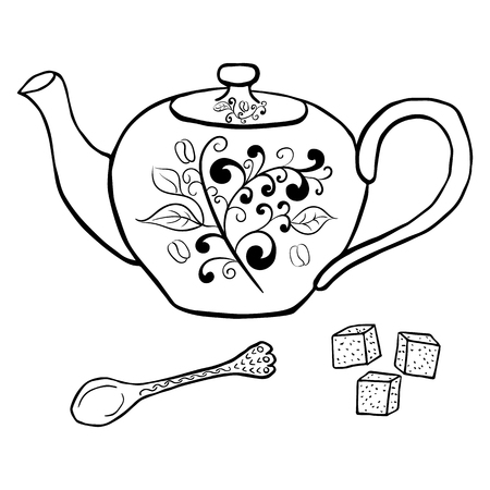 sugar spoon: Pottery teapot sugar and spoon hand drawing. Vector illustration