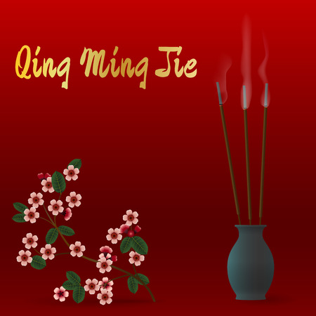 ming: Qing Ming Jie Chinese Festival of pure light. Vector Illustration