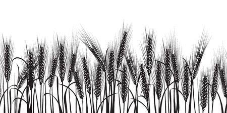 麦の穂黒水平のシームレスなパターン ベクトル図  イラスト・ベクター素材