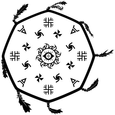 slavic: Shaman drum tambourine with Slavic signs.