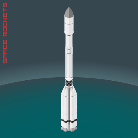 proton: Isometric Russian space rocket cargo proton. Illustration