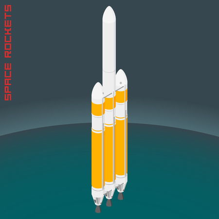 cape canaveral: Isometric american space heavy rocket.
