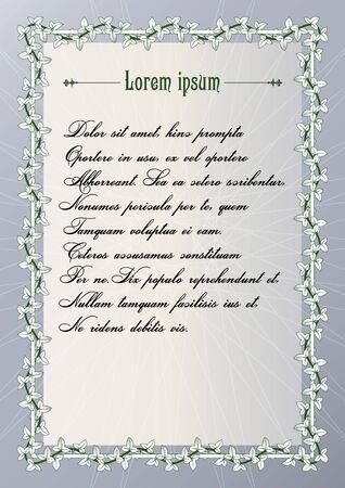 bindweed: Certificate frame with vintage bindweed ornament. illustration