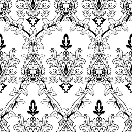 fire flower: Vintage seamless pattern ivy and fire flower.  illustration