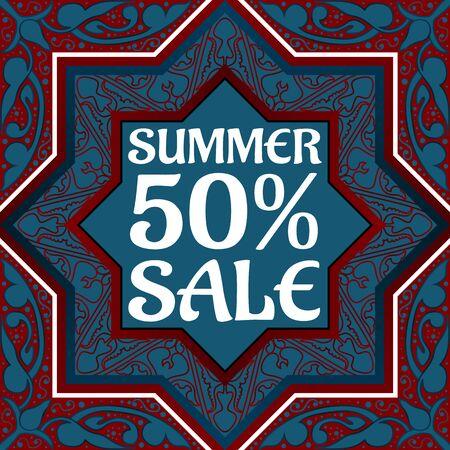 oriental season: Summer sale discount in Arabic style Vintage oriental ornament. Template placard design for sale season. illustration Illustration