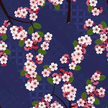 Seamless floral pattern avec des fleurs de sakura cerise sur le bleu des vagues japonais fond. illustration