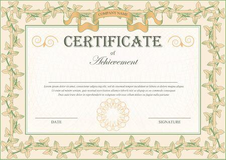 bindweed: Vintage Certificate Ornament Frame Bindweed Ivy. illustration