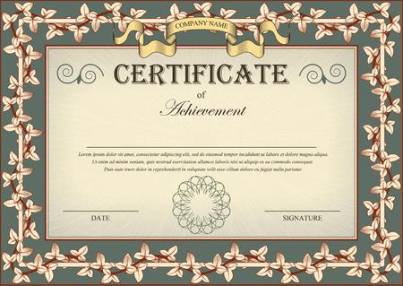 Vintage Certificate Ornament Frame Bindweed Ivy. illustration