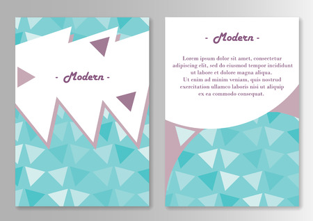 broshure: Vector broshure pages template. Pattern With Triangles Cold Colors. Vector illustration
