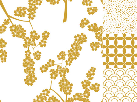 Japanese seamless pattern set with traditional ornaments. Vector illustration
