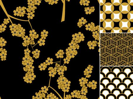 日本のシームレスなパターンは、伝統的な装飾と設定。ベクトル図