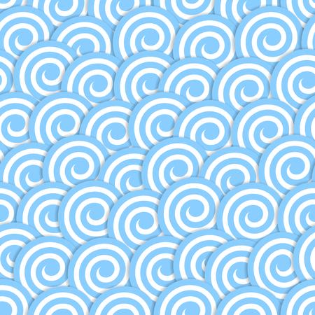 シームレスなパターンには、青い波のサーフが様式化されました。ベクトル図  イラスト・ベクター素材