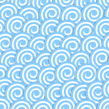 Seamless pattern with stylized blue waves surf. Vector illustration