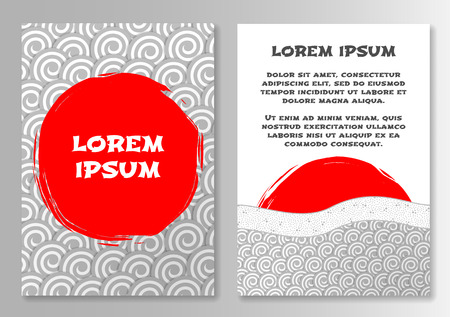 Template for brochure with sun and clouds in Japanese style. Vector illustration