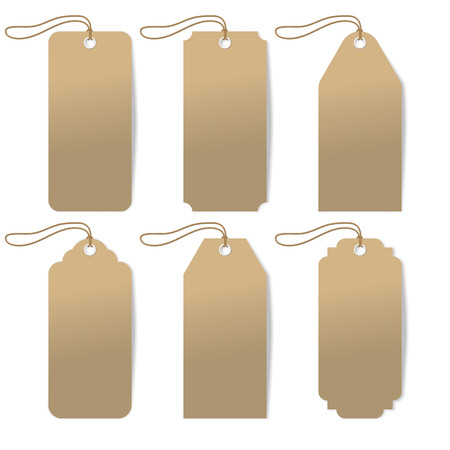 sewed: Set of six carton tags with rope. Vector illustration