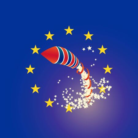 strewed: Brexit with rocket UK and Euro union flags, strewed stars. vector illustration