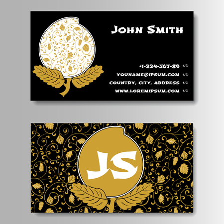 longevity: Creative Golden Business Visiting Card with Chinese pattern Template. Pattern With Foliage and Peach Longevity in Chinese style. Vector Illustration Illustration