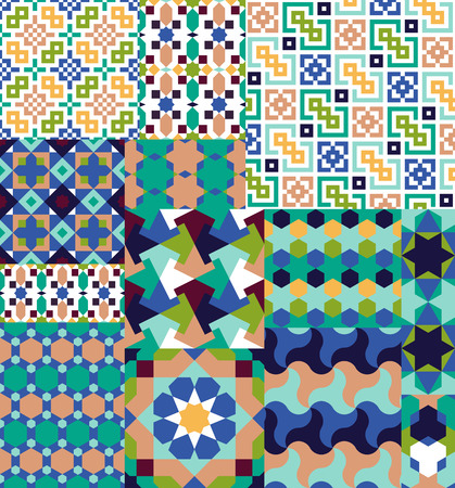 alhambra: Seamless patterns Set in Moroccan Arabic style. Islamic traditional ornament. Vector illustration Illustration