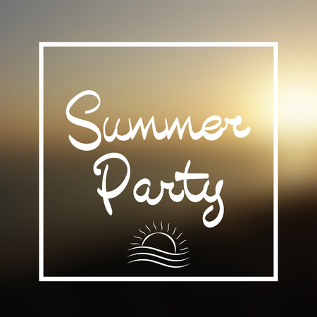 soiree: Summer Party Lettering. Sun in Frame on the Vector Background Sunset on the Beach