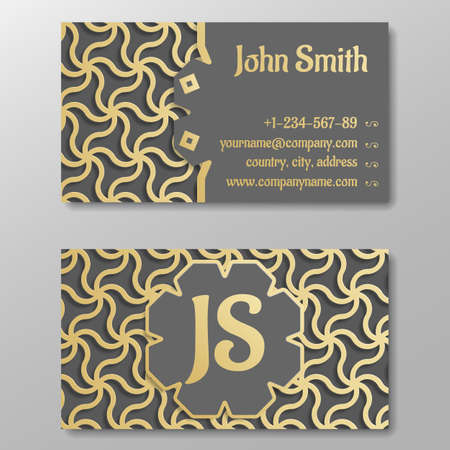 arabic gold: Business card template, gold arabic traditional pattern. Vector illustration