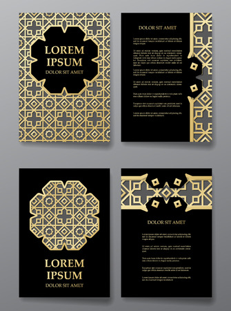 arabic gold: Cover brochure gold design. Arabic traditional decorative patterns. Vector illustration Illustration