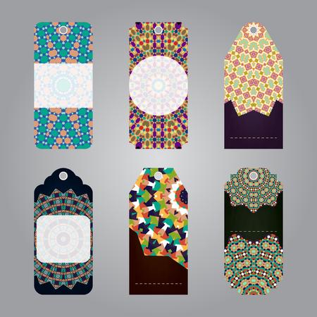 sale tags: Set of templates gift sale tags with arabic geometric mandala elements. Vector illustration Illustration