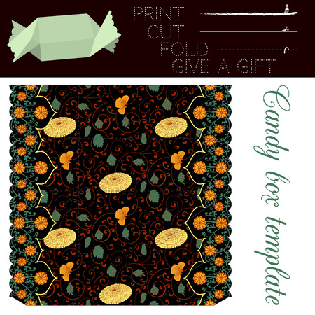dar un regalo: Template for gift box of candy with elegant chinase seamless pattern with chrysanthemum flowers. Easy for installation - print, cut along the solid lines, fold along the dotted lines, give a gift.