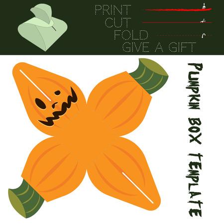 dar un regalo: Corte de caja en forma de calabaza, de dulces en Halloween. Fácil para la instalación - de impresión, corte a lo largo de las líneas continuas, doble a lo largo de las líneas punteadas, dar un regalo.