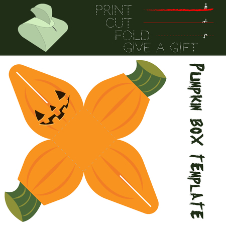dar un regalo: Box cut in the form Pumpkin, for candy on Halloween. Easy for installation - print, cut along the solid lines, fold along the dotted lines, give a gift.