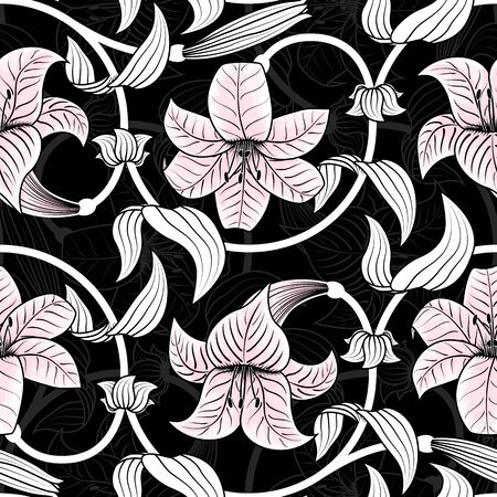 Seamless pattern with lilies on black background Vector illustration