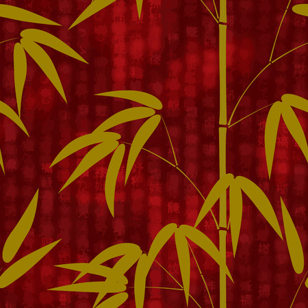 Seamless pattern with hand drawn japanese style bamboo on a red background with hieroglyphs. Vector illustration