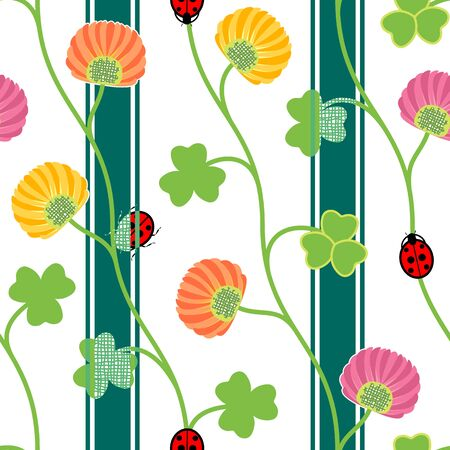 shamrock seamless: Seamless pattern with green clover shamrock ladybugs and ribbons on a white background. Vector illustration Illustration