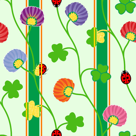 seamless clover: Seamless pattern with green clover shamrock ladybugs and ribbons. Vector illustration