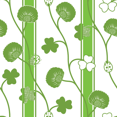 seamless clover: Seamless pattern green silhouette clover ladybugs and ribbons on a white background. Vector illustration