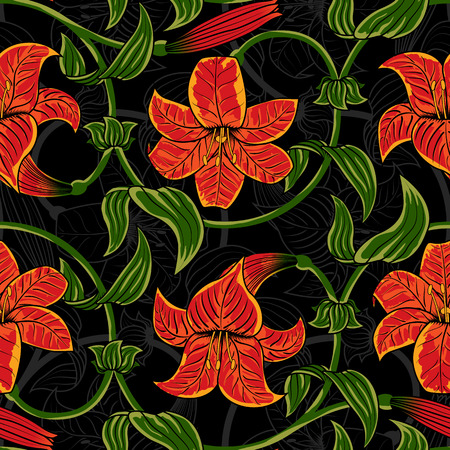 Seamless pattern with lily flowers on dark background. tropical summer, bright green and orange colors. Vector illustration