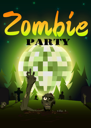 Halloween Zombie Party on green disco ball moon background.