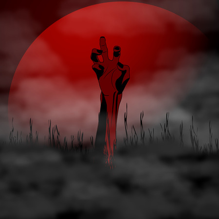 revelation: Halloween Zombie Hand on background full blood moon and fog. Vector illustration