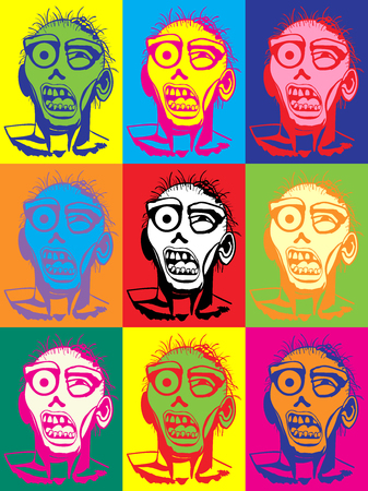 Zombie pop art vector illustration multicolor poster